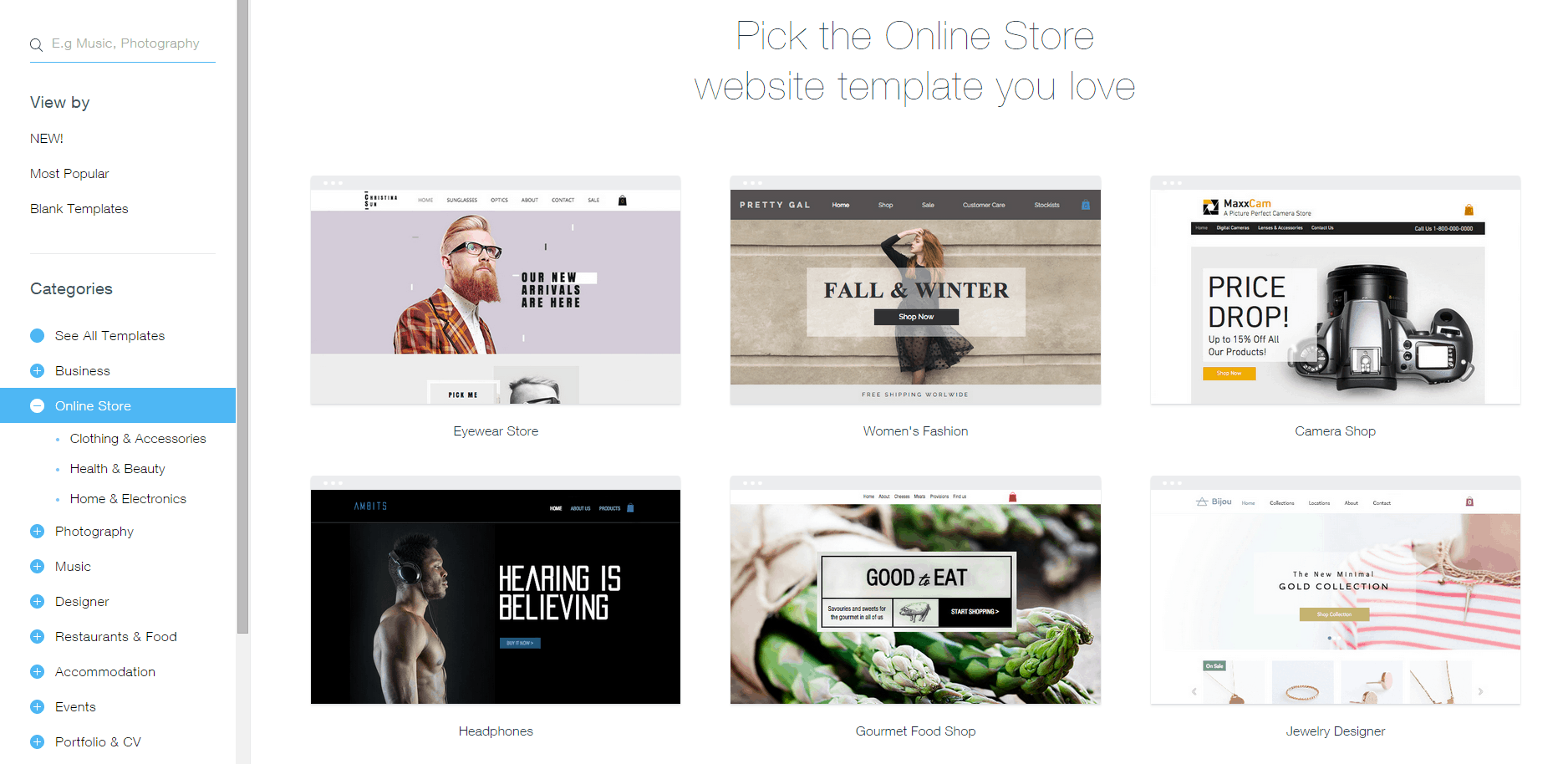 Picking a store with Wix