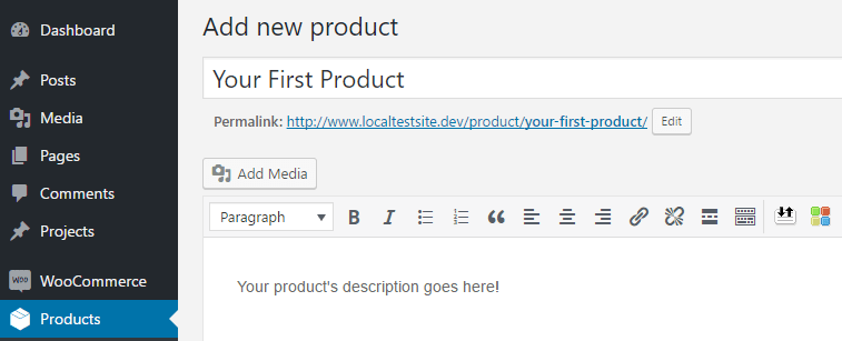 Typing a name and a description for your product.